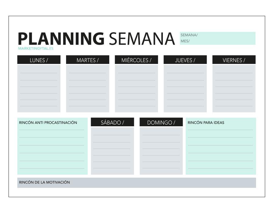 Organizar la semana para ser más productivo + plantilla imprimible gratis Marketingytal