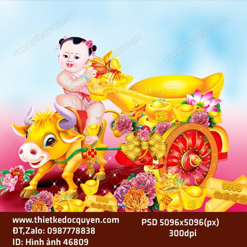 Vector Tiểu Đồng ngồi xe vàng