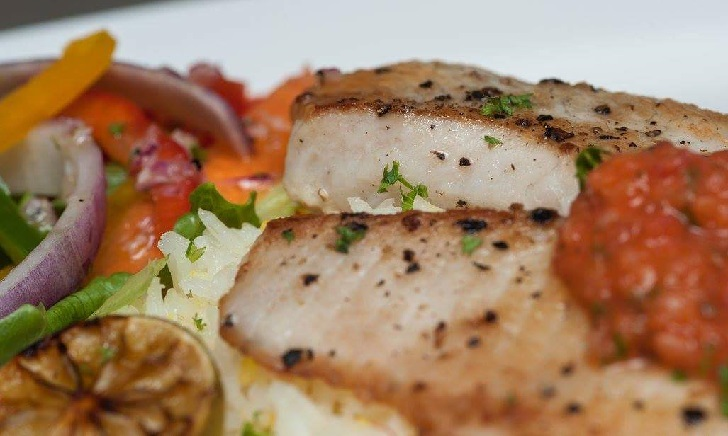 Fried Fish Fillet with Lime Tomato Sauce