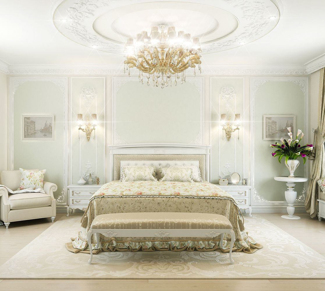 bedroom design in classic style by luxury antonovich design