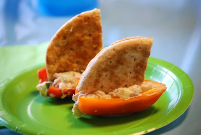 tuna fish pita bread boats in orange peppers