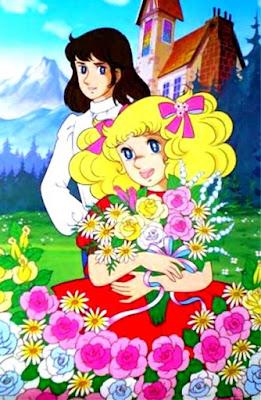 Dibujo de Candy con flores junto a Terry
