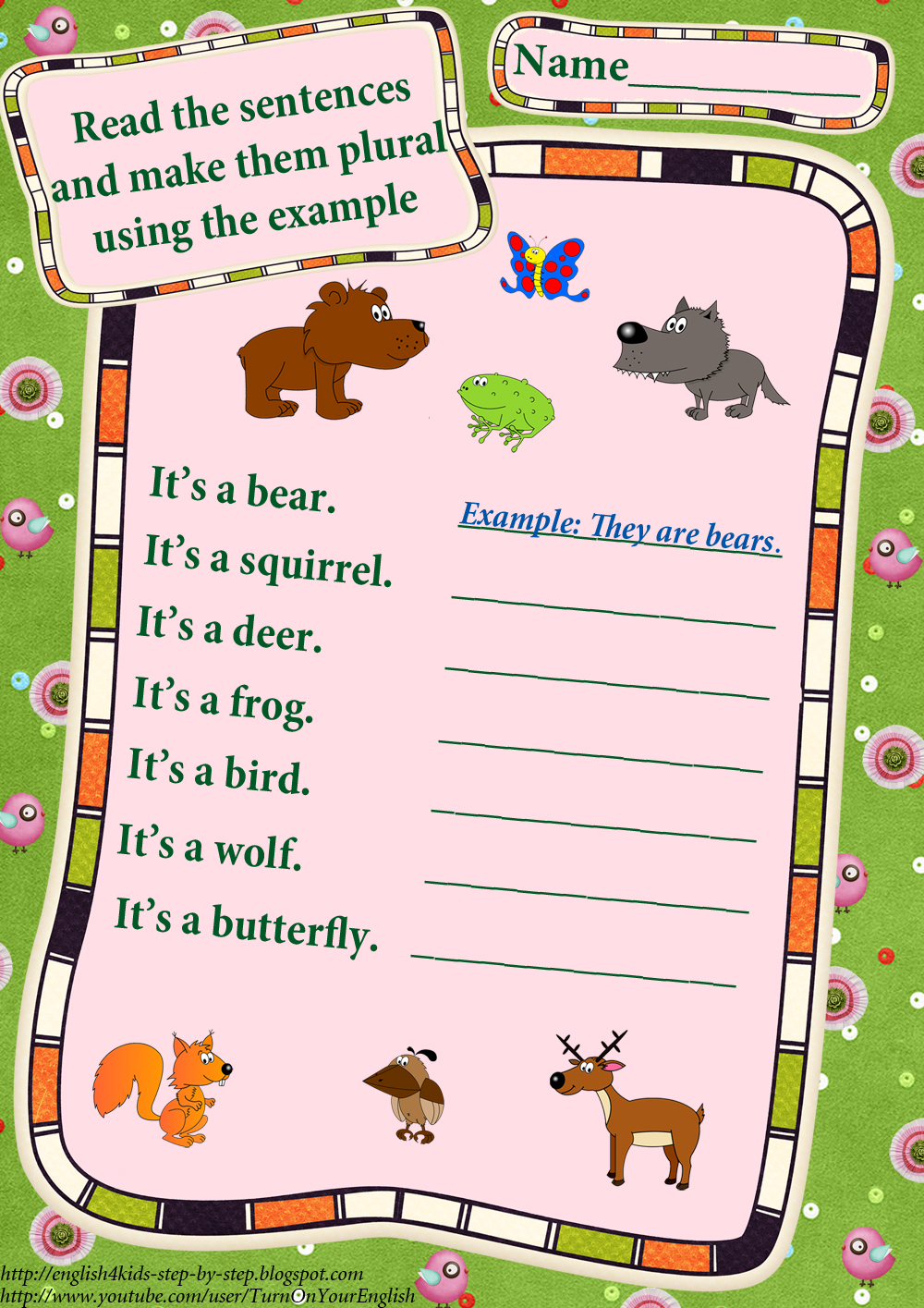Workbooks making words plural worksheets : Forest Animals Worksheets