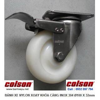 Bánh xe đẩy inox 304 Nylon trắng có khóa phi 100 | 2-4456-254-BRK4 www.banhxepu.net
