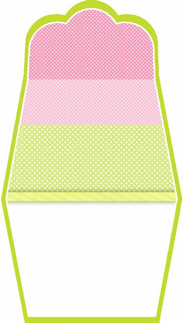 Verde, Rosa y Lunares Blancos: Bolsos Invitación para Imprimir Gratis.