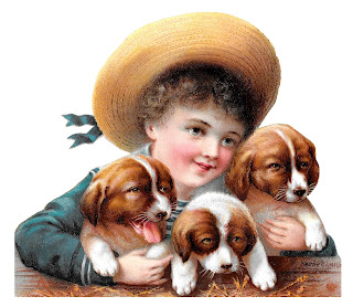 boy puppies dog image victorian illustration clipart digital