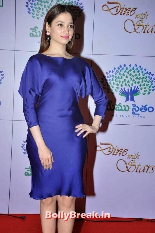 Telugu Actress Tamanna, Tamanna Bhatia Hot Pics in Blue Dress