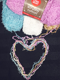 red heart, scrubby yarn