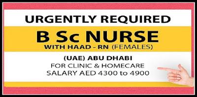 URGENTLY REQUIRED NURSES FOR UAE ( ABU DHBAI)