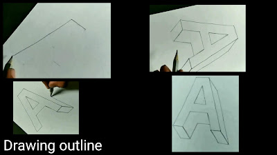 How to draw outline of A, step by step tutorial of A, learn to draw A, easy to draw A, easy Drawing, 3d drawing, on paper drawing