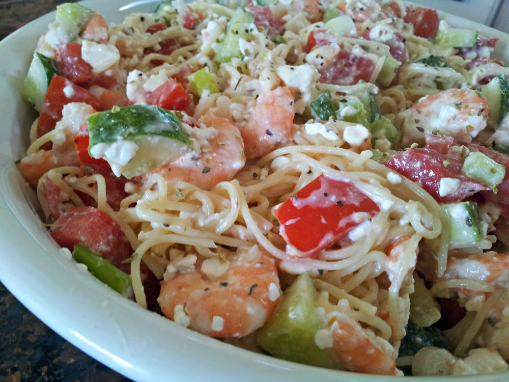 Easy Feta and Shrimp Pasta Salad