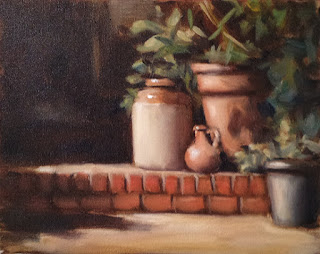 Oil painting of a large earthenware container and several pot plants on a brick step.