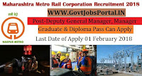 Maharashtra Metro Rail Corporation Limited Recruitment 2018-Deputy General Manager, Manager