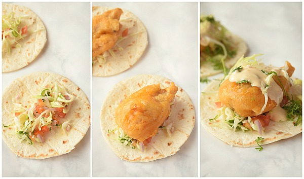 steps to make baja fish tacos with cabbage slaw and chipotle sauce