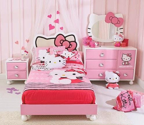 desain tempat tidur hello kitty anak