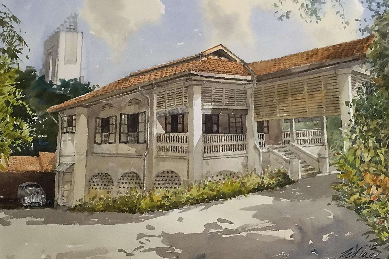 Singapore artist Ong Kim Seng's painting of the house at 38, Oxley Road, featuring it in its original condition in the 1950s.