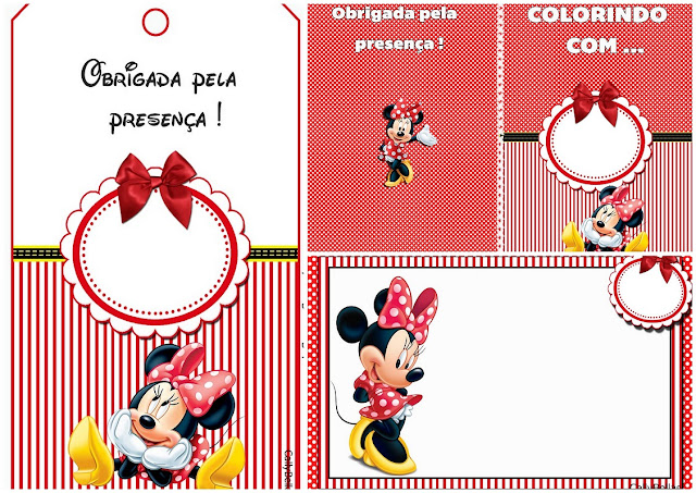 Minnie en Rayas Rojas: Invitaciones e Imprimibles Gratis para Fiestas de Cumpleaños.