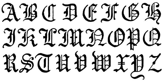 Gothic handwriting alphabet