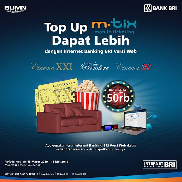 #Cinema21 #CinemaXXI - #Promo TopUp MTIX Bonus Saldo Pakai Internet Bangking BRI