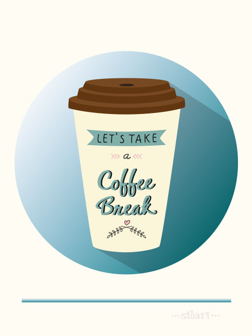coffee break, Kaffeepause, vektorgrafik, vector