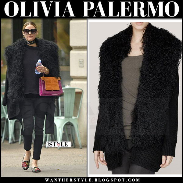 Olivia Palermo in black shearling cardigan, black jeans and floral loafers what she wore april 2017