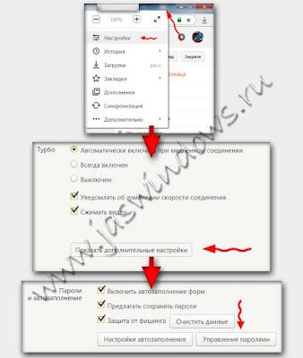 Пароли в Яндекс браузере.