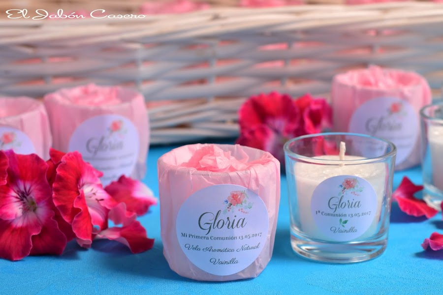 Detalles para comuniones velas naturales aromaticas
