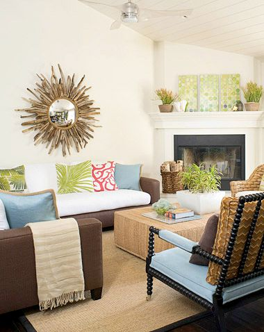 Sunburst Driftwood Mirror Living Room
