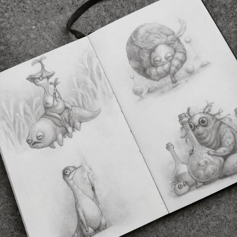 03-Stella-Bialek-Moleskine-Fantasy-Creatures-Drawings-www-designstack-co