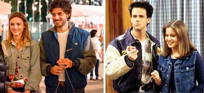 Figurino A lei do amor, Helô e Pedro e ao lado casal de seriado dos anos 90 com roupas semelhantes