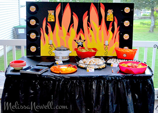 backdrop for KISS rocker party, food table, rock party, album decor