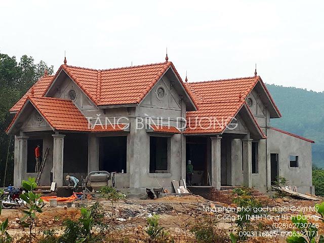 Công trình nhà lợp ngói Indo Gốm Mỹ màu đỏ
