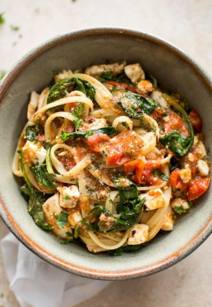 Chicken Feta Spinach Pasta