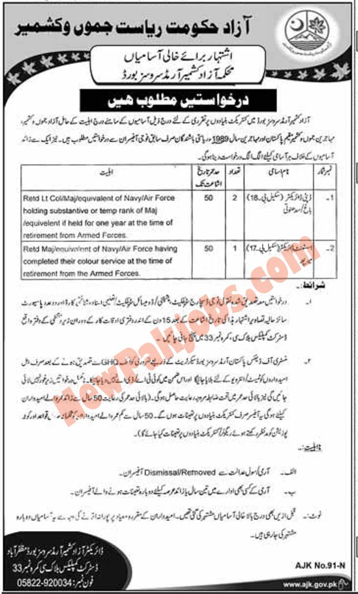 Armed Services Board Azad & Jamu Kashmir Required persons