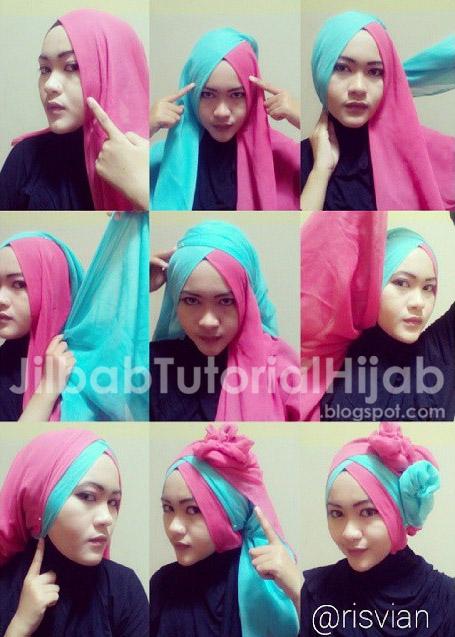 Tutorial Style Hijab Segi Empat 2016 Dua Warna