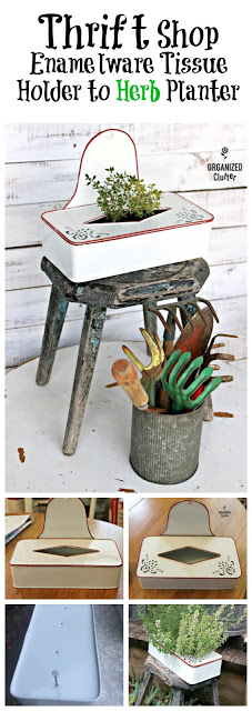 Thrifted Enamelware Tissue Holder Herb Planter #stencil #containergarden #repurpose
