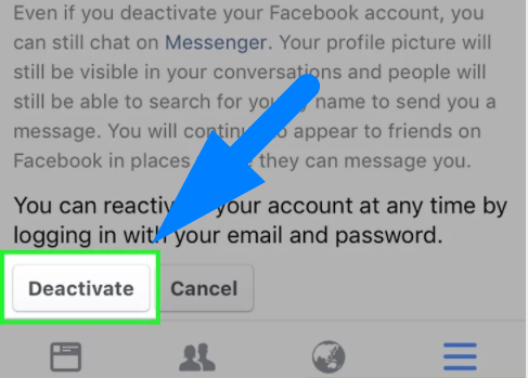how to deactivate facebook account mobile 2017