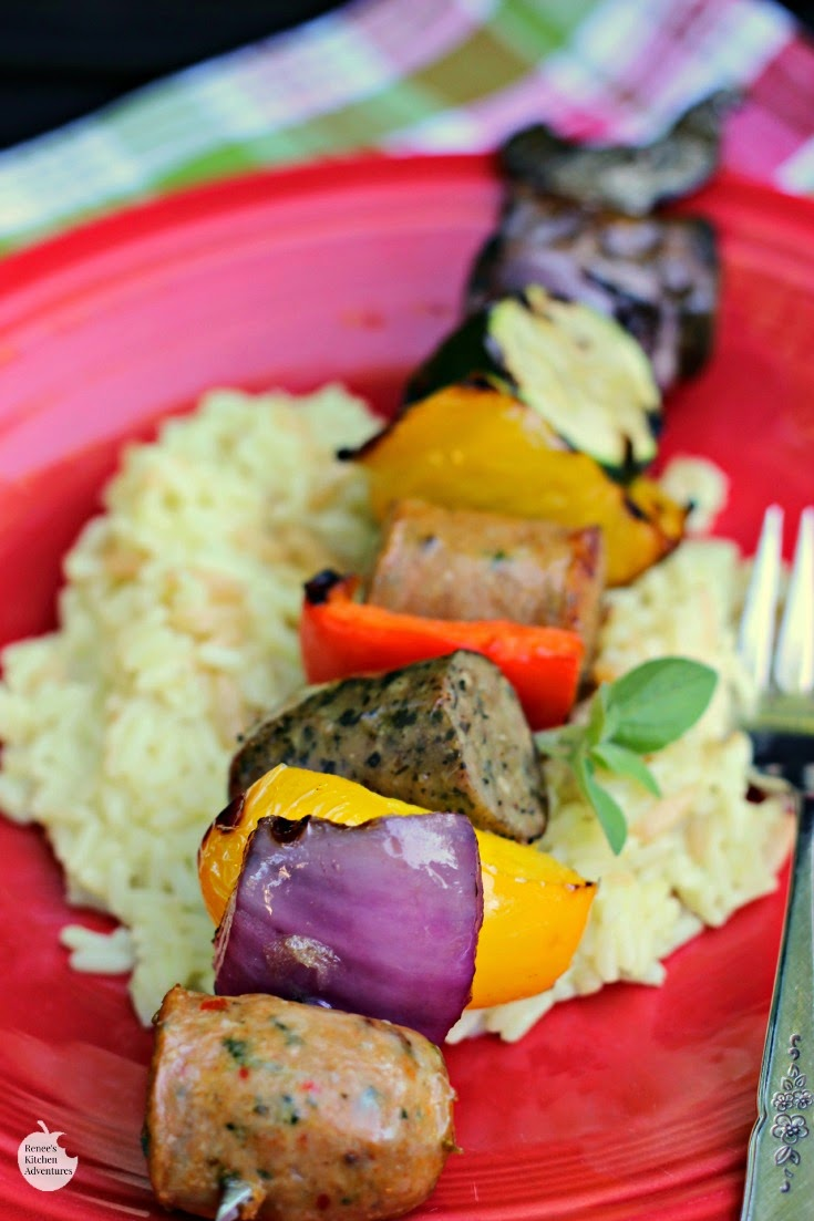 Easy Grilled Chicken Sausage and Pepper Kabobs | by Renee's Kitchen Adventures - Easy recipe for a quick and healthy weeknight dinner!  Ready in under 30 minutes!