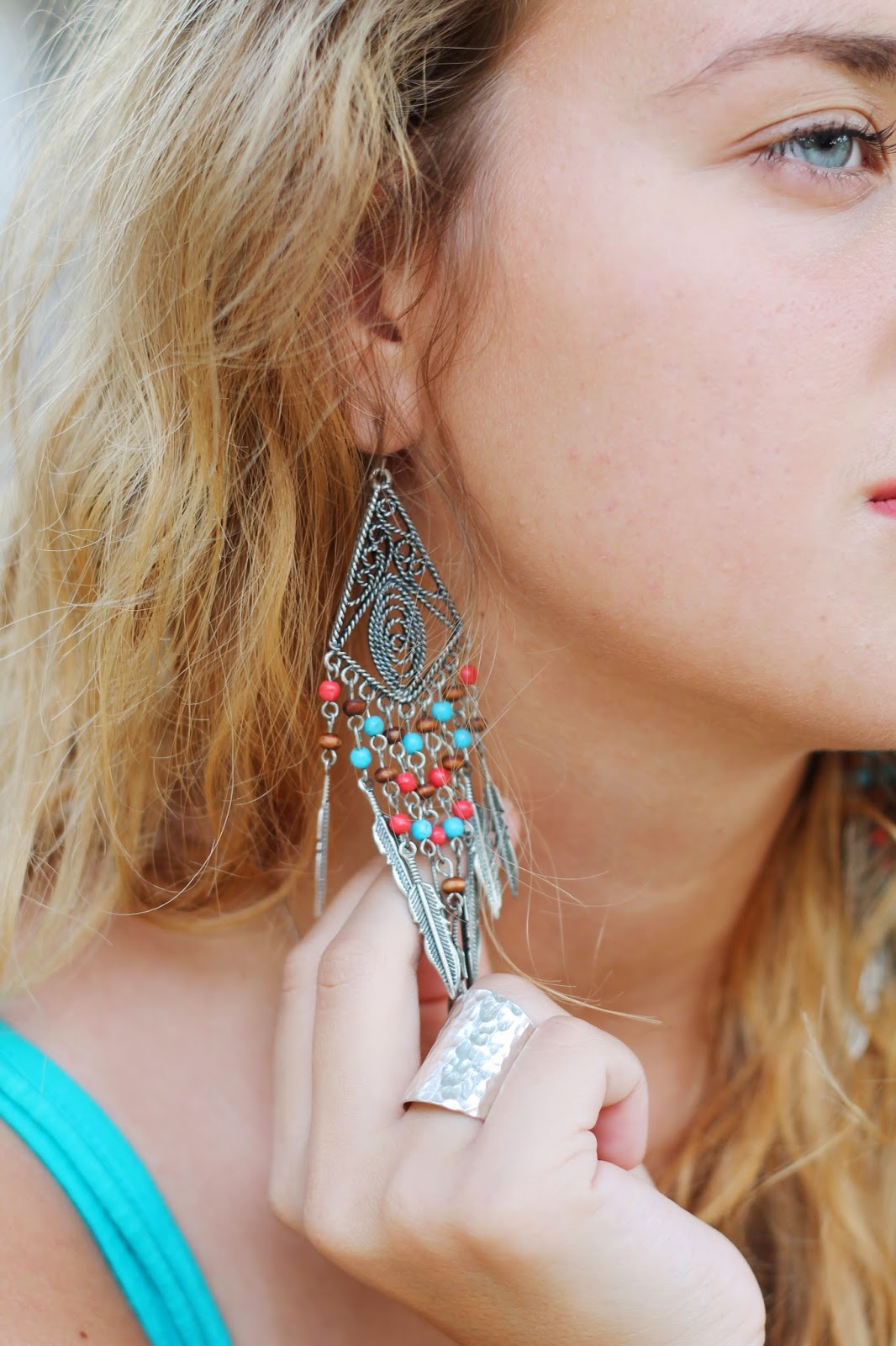 statement tribal earrings with feathers