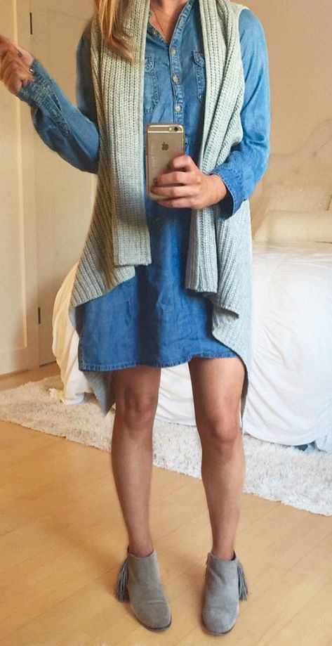 best fall outfit : knit vest + denim shirt dress + boots