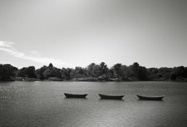 imagen de arte en blanco y negro de tres botes flotando alineados sobre un lago en calma, al fondo se observan los arboles del bosque y un día soleado que se refleja en el agua.