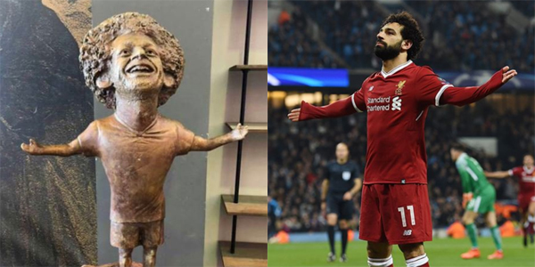 image of a hideous rendention of Mo Salah on one side, an image of the actual Mo Salah on the other