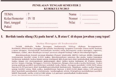 File Pendidikan Soal UTS Semester 2 Kelas 4 Kurikulum 2013