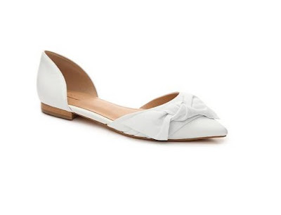 Aldo White D'orsay flat with ribbon detail