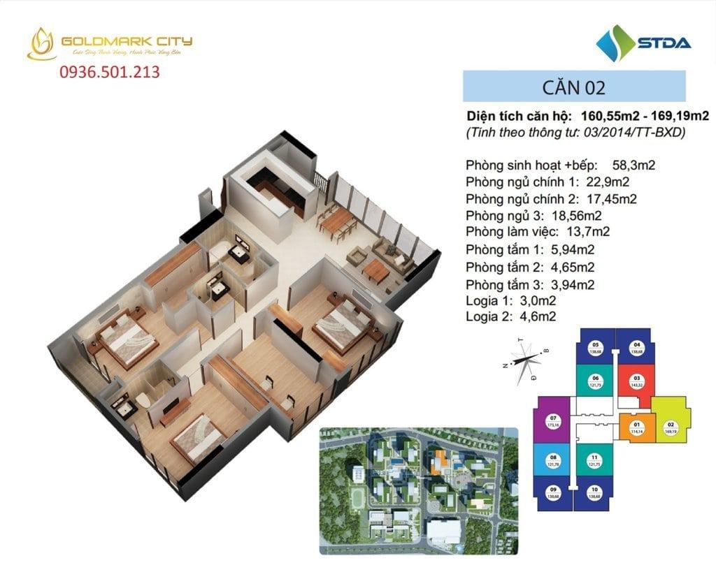 Mặt bằng căn hộ số 02 Ruby 1- Dự án Goldmark City