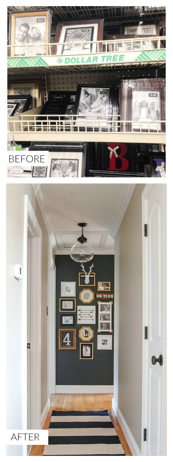 Hallway gallery wall using Dollar Store frames