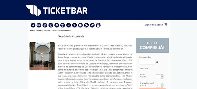 Ticketbar para o tour pela Galeria Accademia em Florença