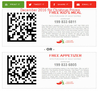 free Chili's coupons december 2016