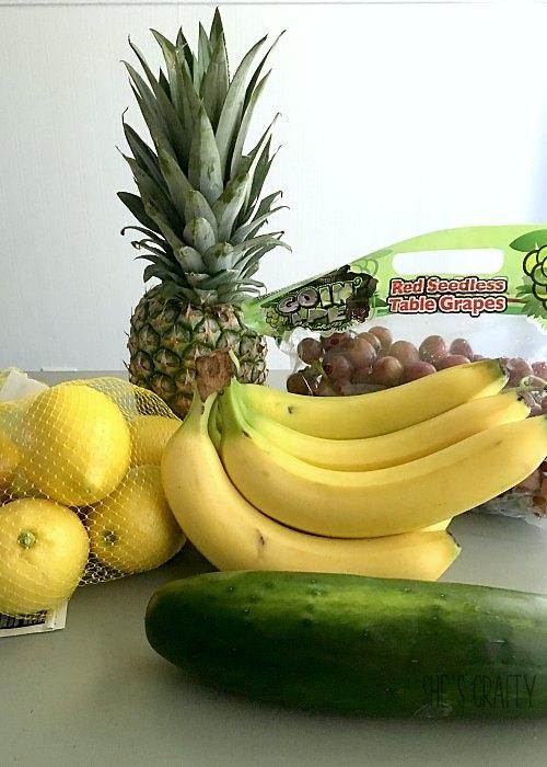 produce, pineapple, bannanas, apples, grapes