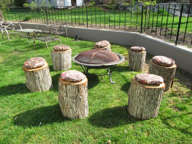 Sew Many Ways...: Turn Tree Stumps Into Fire Pit Seating...
